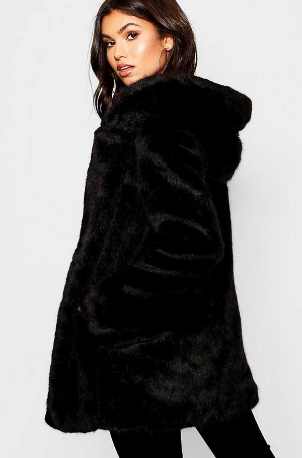 The black faux fur coat