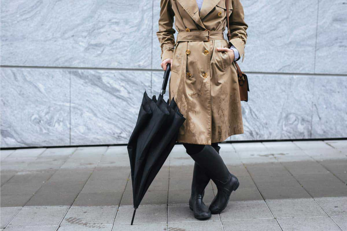 Trench coat and rain boots